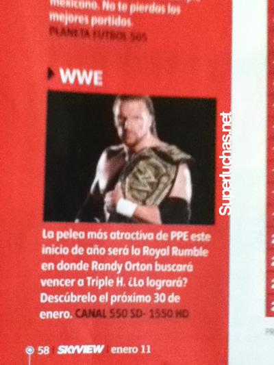 ¿SKY dice que Triple H enfrentará a Randy Orton en el Royal Rumble 2011? 1