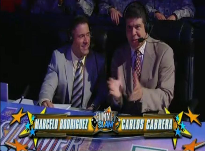 Carlos Cabrera y Macerlo Rodríguez en Ringside de WWE SummerSlam 2011 (14.8.11) / Image by: Felipe Erazo