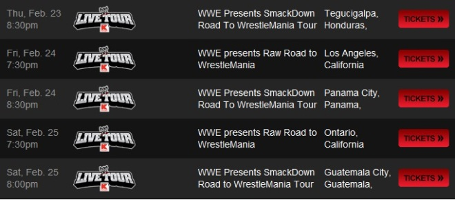 WWE SmackDown Road to Wrestlemania Centroamérica 2012