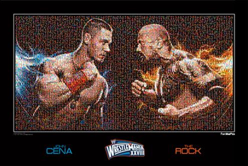 Mosaico Conmemorativo de The Rock vs John Cena en WrestleMania 28 con la cara de los fanáticos