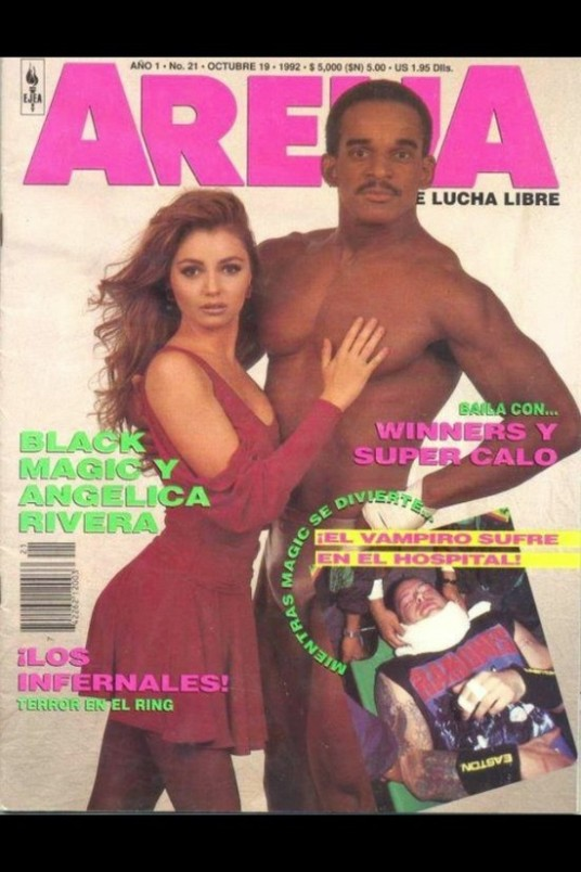 "Angélica Rivera y Black Magic en la revista ""Arena de Lucha Libre"", Año 1, No. 21, Octubre 1992"