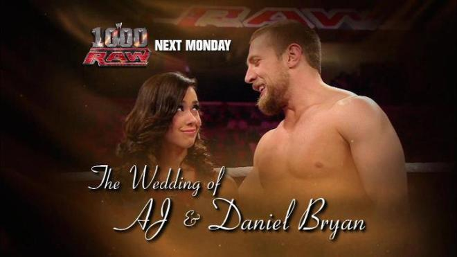 La boda de AJ y Daniel Bryan en el Episodio 1000 de RAW / Facebook.com/WWE