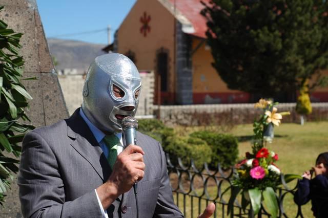 El Hijo del Santo durante una ceremonia pública en Tulancingo, Hidalgo, México / Photo by Fotosuabe - Wikipedia.org