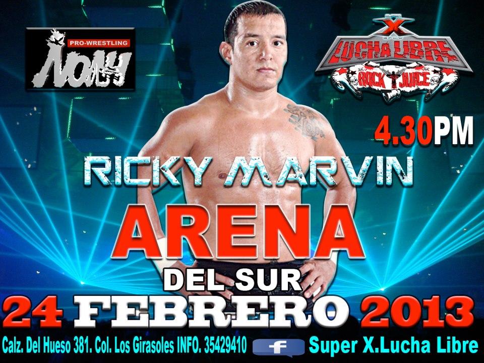 Ricky Marvin se presenta en Super X / Arena del Sur - 24 de febrero de 2013 / Image by Super X.Lucha Libre en Facebook
