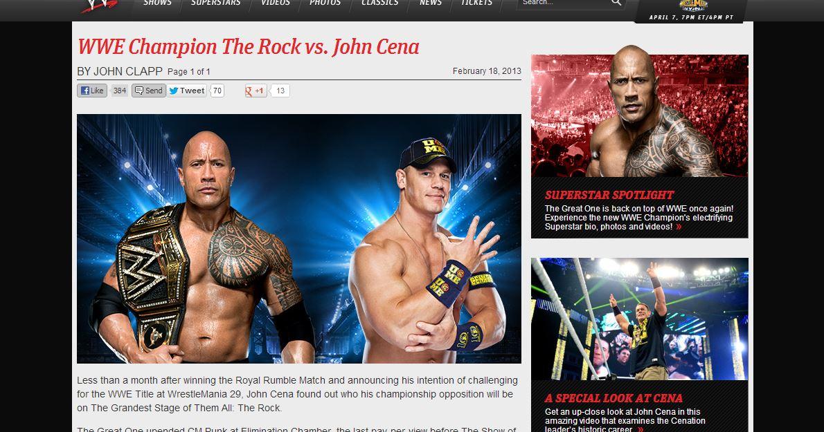 The Rock vs John Cena / WWE.com