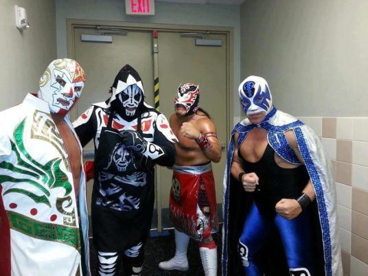 Dr. Wagner, Atlantis, Ultimo Guerro y LA Park juntos en estados unidos/ imagen idolos del ring