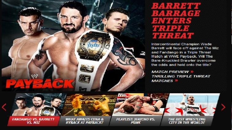 Wade Barrett vs. Fandango vs. The Miz por el Campeonato Intercontinental en el PPV WWE Payback 2013